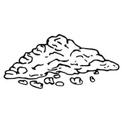 Soil land icon. Vector illustration of a hill of land. Hand drawn soil.