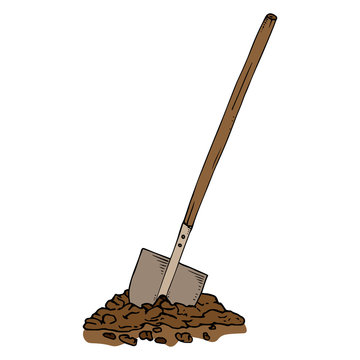 Shovel in the ground icon. Vector illustration of a shovel with a wooden handle. shovel in the ground.