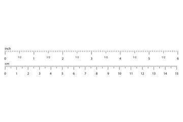Metric Imperial Rulers. Scale for a ruler in inches and centimeters. Measuring scale with numbers, markup for rulers. Measuring tool. Size indicator units. Vector illustration.