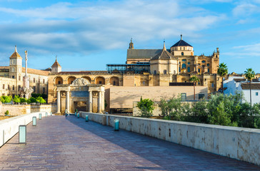 Wall Mural - Roman Bridge and Mezquita Cathedral  in Cordoba,  Andalusia, Spain.