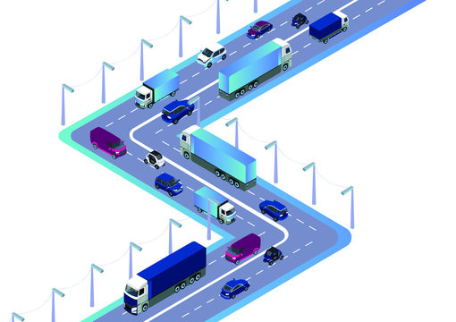Road with cars, truck used for workflow layout, game, diagram, number options, web design and infographics. Isometric flat illustration on white background
