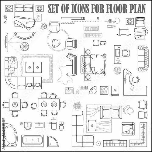 Floor Plan Icons Set For Design Interior And Architectural Project