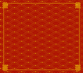 Vector Red Orintal Ornament, Wave Shapes, Circles Background, Red and Gold Colors, Backdrop.