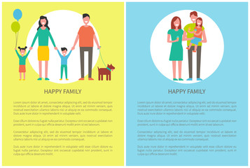 Happy Family with Pet Posters Vector Illustration