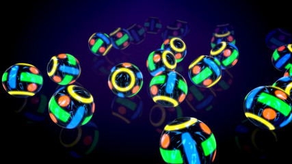 Rolling Colorful Balls in Black Backdrop