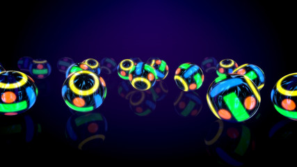 Shining Colorful Balls in Black Background