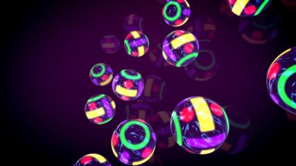 Flying Colorful Billiards Neon Balls
