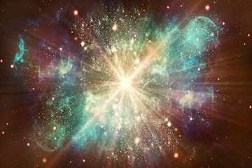 Artistic Dreamy Abstract Multicolored Glowing Galaxy With An Exploding Star in Center Artwork