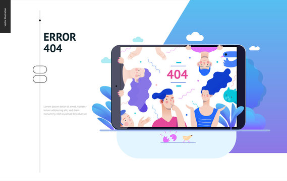 Business series, color 2- error 404 -modern flat vector concept illustration of page Error 404 - puzzled people on the tablet screen. Page not found metaphor Creative landing page design template