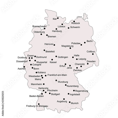 Map Of Germany Showing Major Cities.Germany Outline Map With Stroke Isolated On White Background With