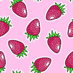 Strawberries seamless pattern. Pink background. Cartoon, comic style. Cute, kawaii wallpaper.