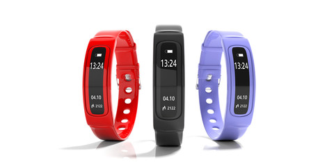 Fitness tracker, smart watch, black, red and blue, isolated on white background. 3d illustration