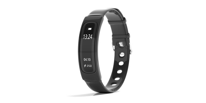 Fitness tracker, smart watch, black, isolated on white background. 3d illustration