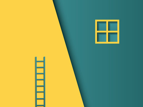Business challenge vector concept with misplaced ladder. Modern paper cutout vector style. Symbol of hard work, effort, ambition and motivation.
