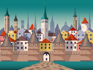 Medieval fantasy urban landscape. Handmade drawing vector illustration.