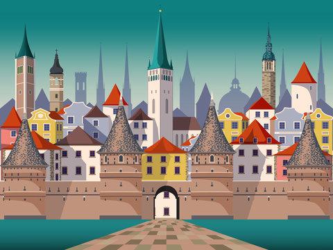 Medieval fantasy urban landscape. Handmade drawing vector illustration.