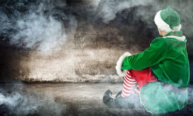christmas time and elf with smoke decoration