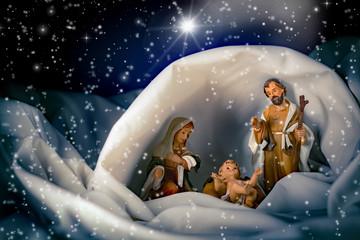 Natale - Presepe con capanna e stella cometa