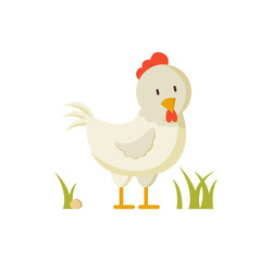 Domestic Bird White Hen Crest Illustration Poster