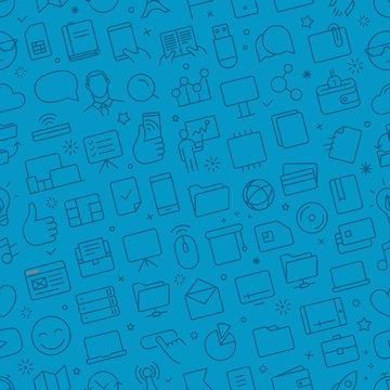 Vector seamless pattern of different web icons set