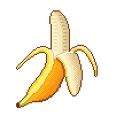Pixel banana fruit detailed illustration isolated vector