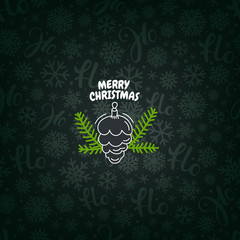 Vector pattern with Christmas logo. Merry Christmas greeting card