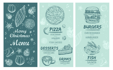 Christmas menu. Restaurant and cafe template. Food and drink brouchure.