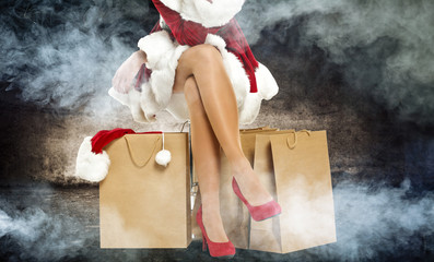 Santa Claus woman with red heels and smoke decoration