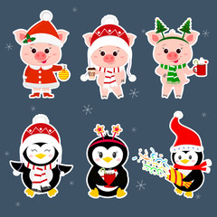 New Year and Christmas card. A set of sticker three piglets and three penguins character in different hats and poses in winter. Gift box, poppers, hot drink. Cartoon style, vector