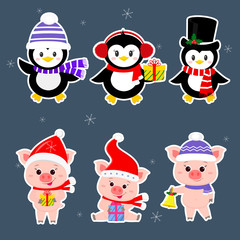 New Year and Christmas card. A set sticker of three piglets and three penguins is typical in different hats and poses in winter. Gift box, bell. Cartoon style, vector