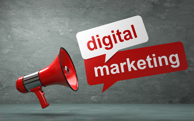 3D Illustration Megaphone digital marketing
