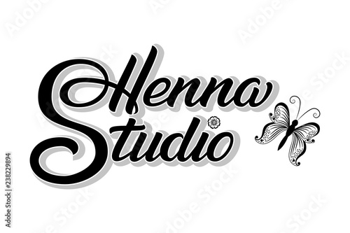 Hand Drawn Lettering Henna Studio With Shadow Vector Ink