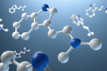 3D Illustration Molekühle DMT blau