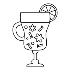 Mulled wine glass icon. Outline mulled wine glass vector icon for web design isolated on white background