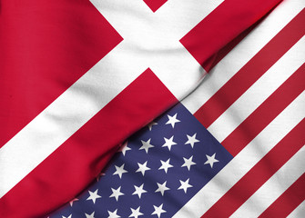 Two flags. 3D. United States and Denmark.
