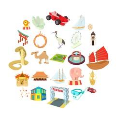 Deception of a tourist icons set. Cartoon set of 25 deception of a tourist vector icons for web isolated on white background