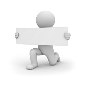 3d man getting down on one knee and showing long blank sign board isolated over white background with shadow 3D rendering