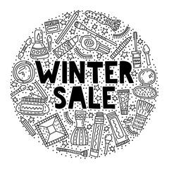 Winter makeup sale vector illustration