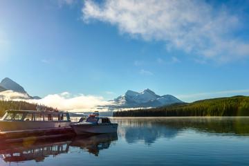 A boat tour on Maligne Lake