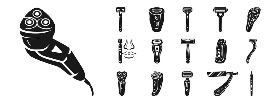 Shaver icon set. Simple set of shaver vector icons for web design on white background