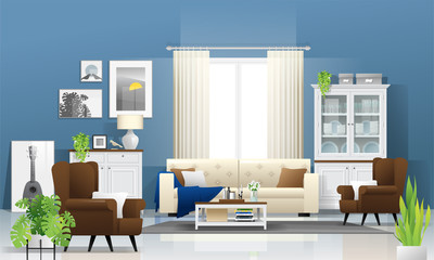 Living room background with wooden furniture , plants and blue wall  in modern rustic style , vector , illustration