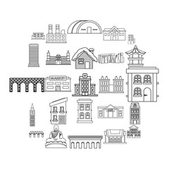 Hotel icons set. Outline set of 25 hotel vector icons for web isolated on white background