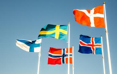 Danish, Swedish, Icelandic, Finnish and Norwegian scandinavian flags waving on the wind in Helsinborg, Sweden