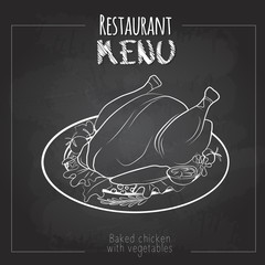 Chalk drawing menu design. Restaurant menu. Baked chicken