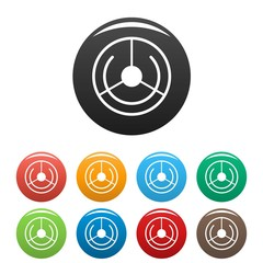 Circle aim target icons set 9 color vector isolated on white for any design