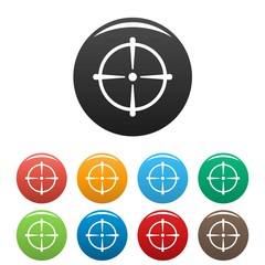 Sniper scope icons set 9 color vector isolated on white for any design
