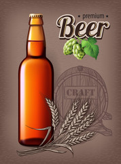 Beer Poster template for classic white beer ad package design. Vector glass bottle with beer 3d illustration