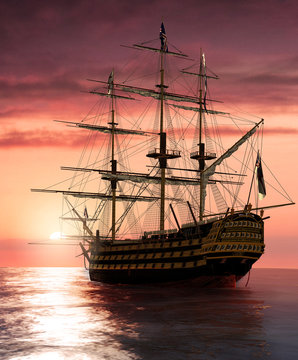 Admiral Nelson Flagship HMS Victory at sailing into the sunset