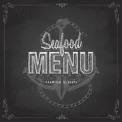Chalk drawing typography seafood, menu design