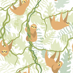 Vector seamless pattern with cute sloth